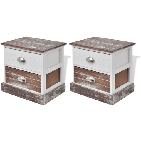 Shabby Chic Bedside Cabinets (2 Pcs) - Brown/White