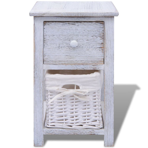 Shabby Chic Bedside Cabinet Wood - White