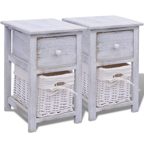 Shabby Chic Bedside Cabinets - White (Set of 2)