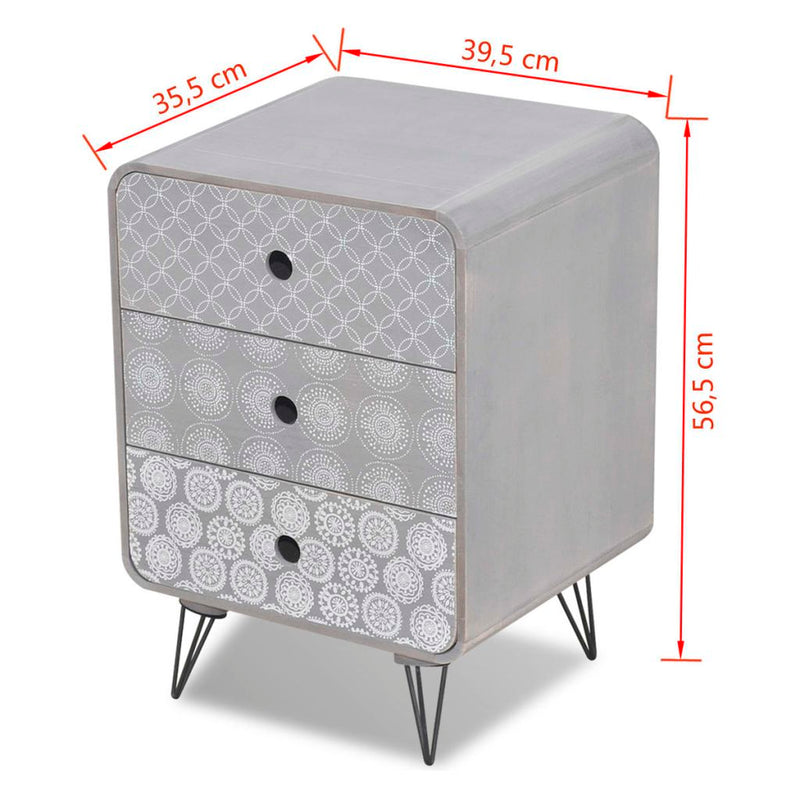 Side Cabinet With 3 Drawers - Grey
