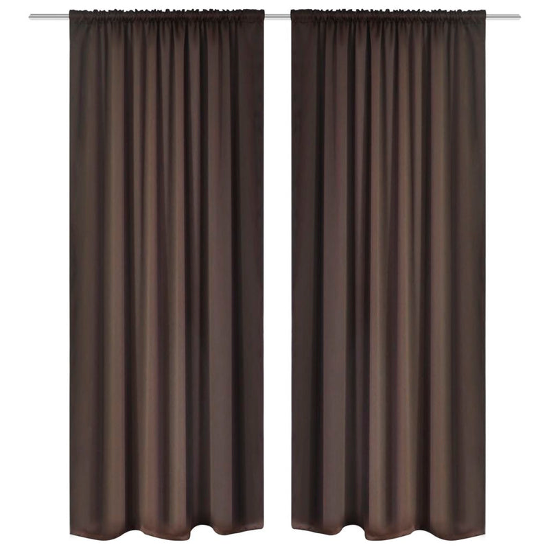 Slot-Headed Blackout Curtains 135 x 245 Cm (2 Pcs) - Brown