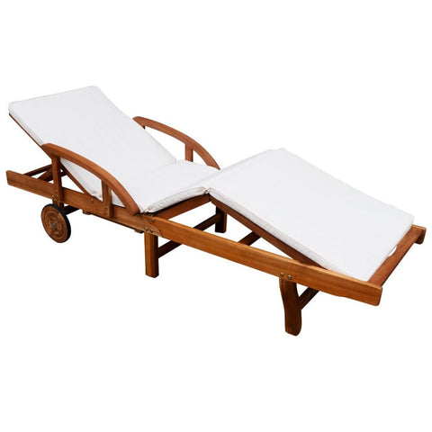 Solid Acacia Wood Sun Lounger with Cushion