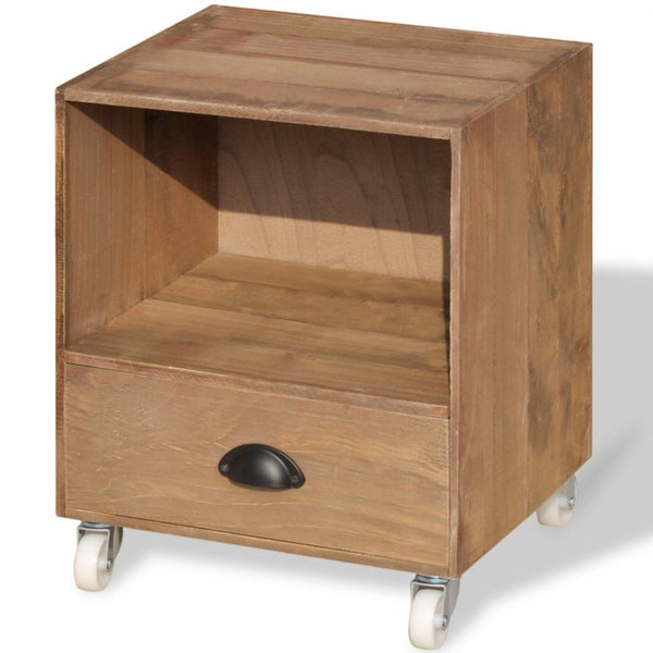 Solid Wood Nightstand - Brown