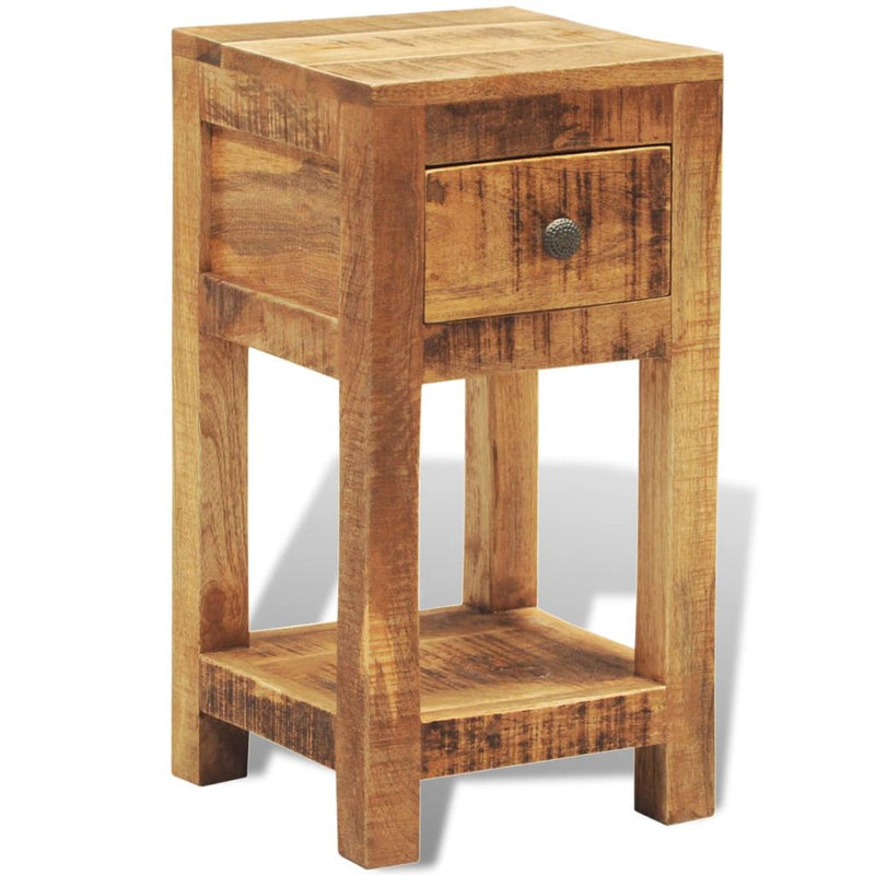 Solid Wood Side Table Nightstand With 1 Drawer