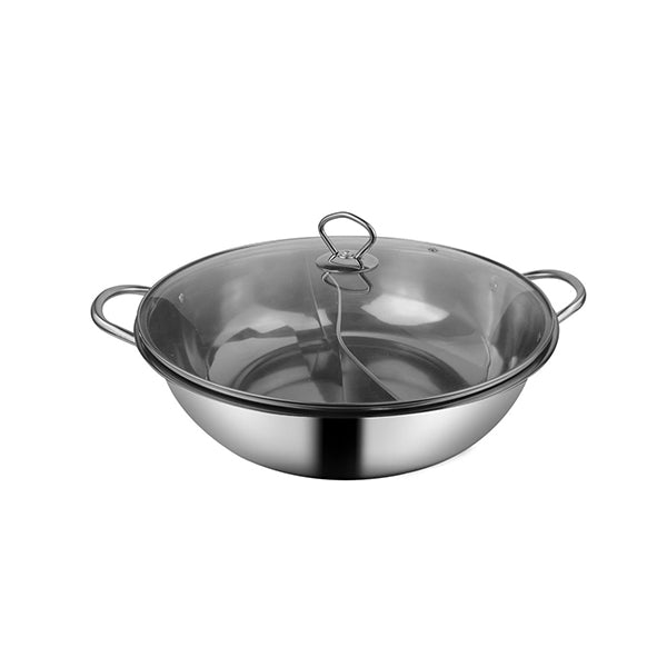 Stainless Steel Twin Mandarin Duck Hot Pot Induction With Lid