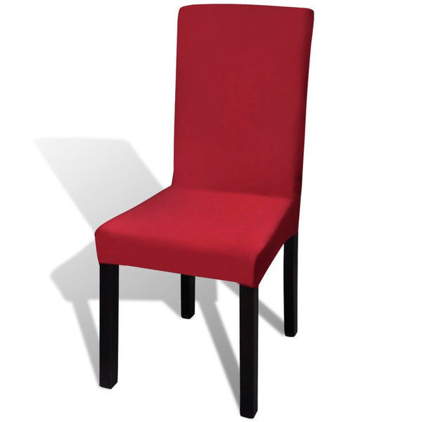 Straight Stretchable Chair Cover (6 Pcs) - Bordeaux