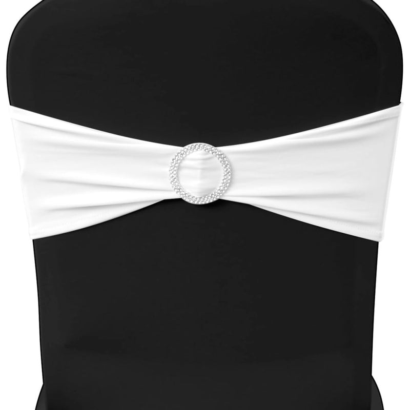 Stretchable Chair Band With Diamond Buckle (25 Pcs) - White