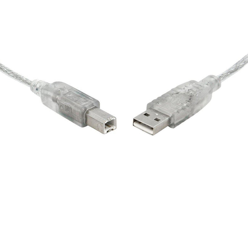 USB 2.0 Certified Cable A-B Transparent Metal Sheath UL Approved