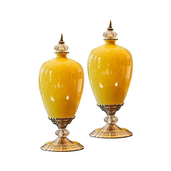 Soga 2X 42Cm Ceramic Oval Flower Vase With Gold Metal Base Yellow