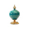 Soga Ceramic Oval Flower Vase With Gold Metal Base Green