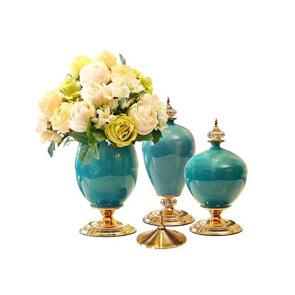 Soga 3X Ceramic Oval Flower Vase With White Flower Set Green