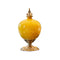 Soga Ceramic Oval Flower Vase With Gold Metal Base Yellow