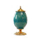 Soga Ceramic Oval Flower Vase With Metal Gold Base Green