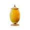 Soga Ceramic Oval Flower Vase With Metal Gold Base Yellow