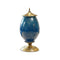 Soga Ceramic Oval Flower Vase With Metal Gold Base Dark Blue