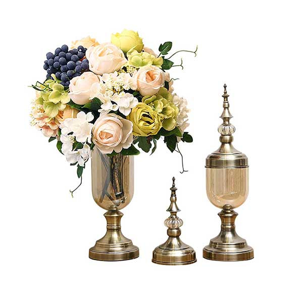 Soga 2X Clear Glass Flowervase With Lid And White Flower Filler Bronze