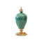 Soga Ceramic Oval Flower Vase With Base Gold Metal Green