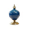 Soga Ceramic Oval Flower Vase With Gold Metal Base Dark Blue