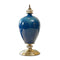 Soga Ceramic Oval Flower Vase With Base Metal Gold Dark Blue
