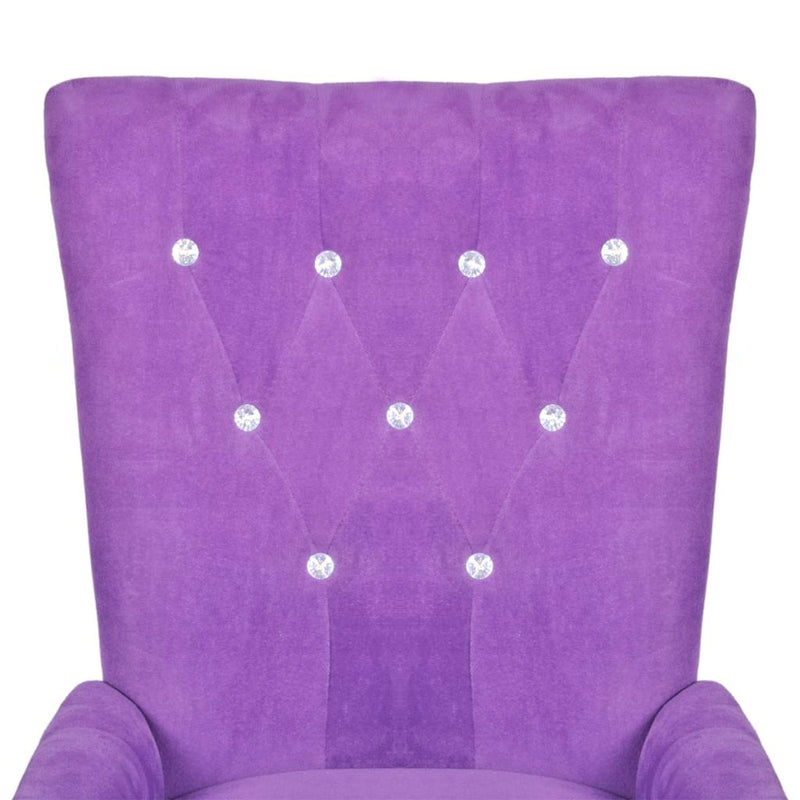 Velvet Armchair With Wooden Frame - Purple