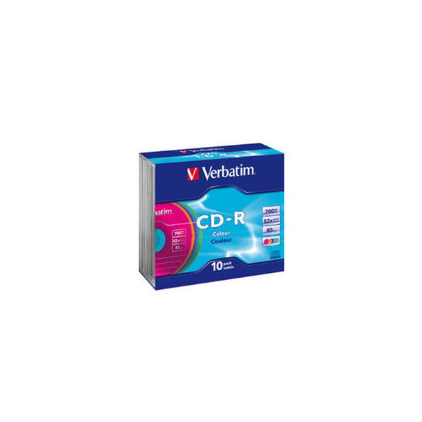 10 Pack Verbatim Cdr Colours Slim Case