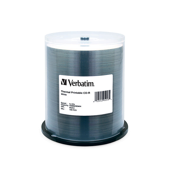 100 Pack Verbatim 95253 Datalife Cdr White Thermal