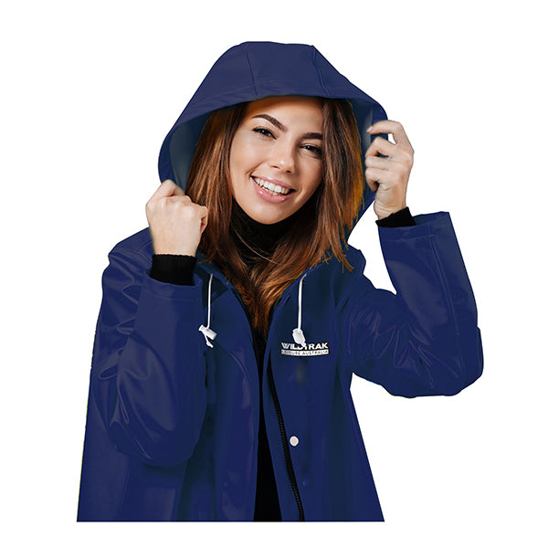 Women Hooded Raincoat Jacket Large Navy