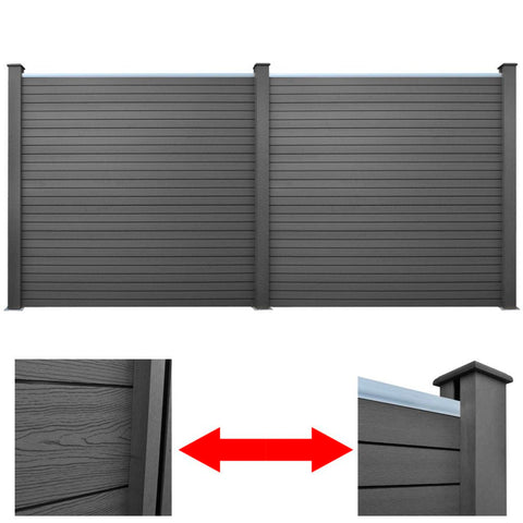 WPC Garden Fence Panels 361 Cm (2 Pcs) - Grey