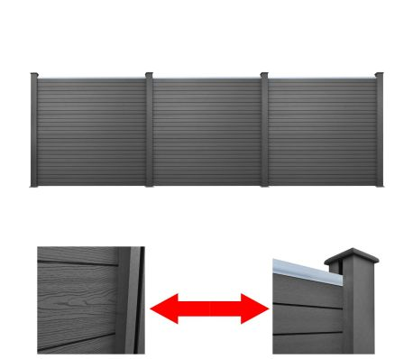 WPC Garden Fence Panels 538 Cm (3 Pcs) - Grey