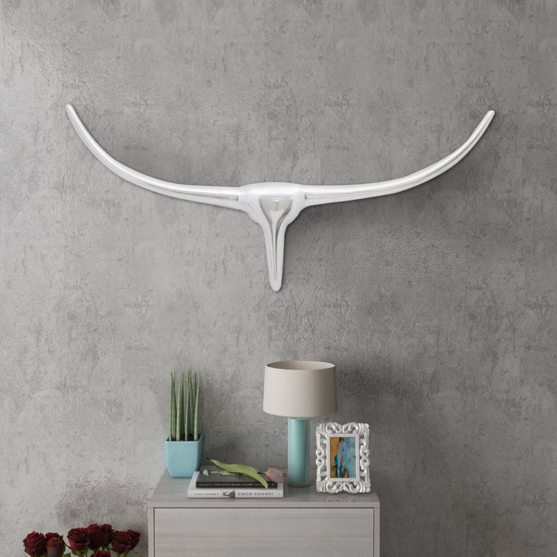 Wall Mounted Aluminum Bull's Head Decoration - Silver