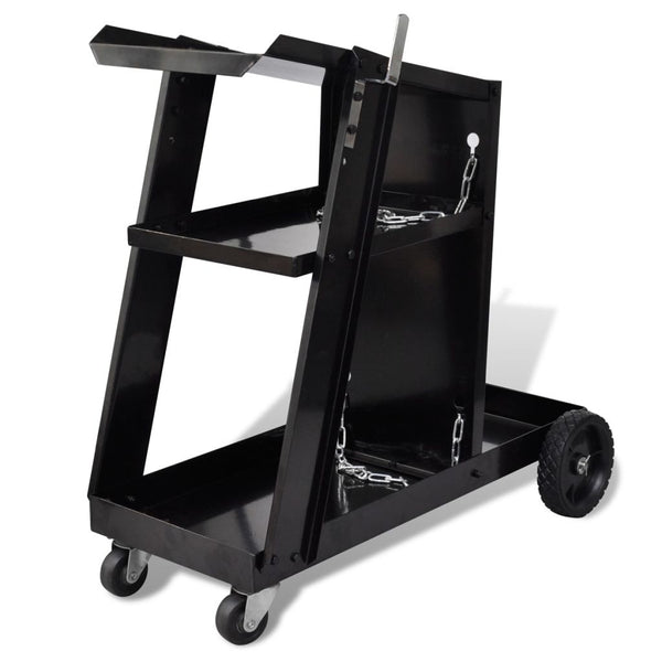 Welding Cart Trolley with 3 Shelves Workshop Organizer - Black