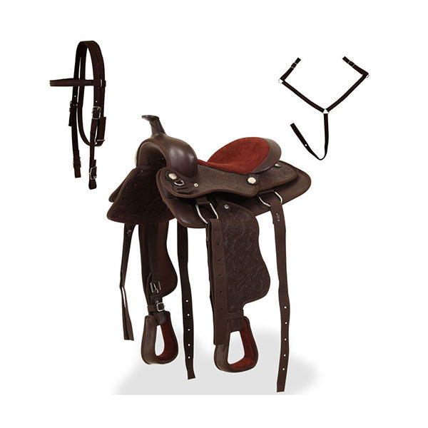 Western Saddle With Headstall And Breast Collar Leather Brown
