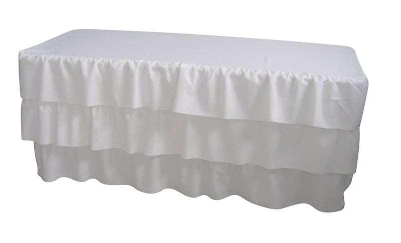 White Table Cloth Trestle Cover - 6ft. Pleated