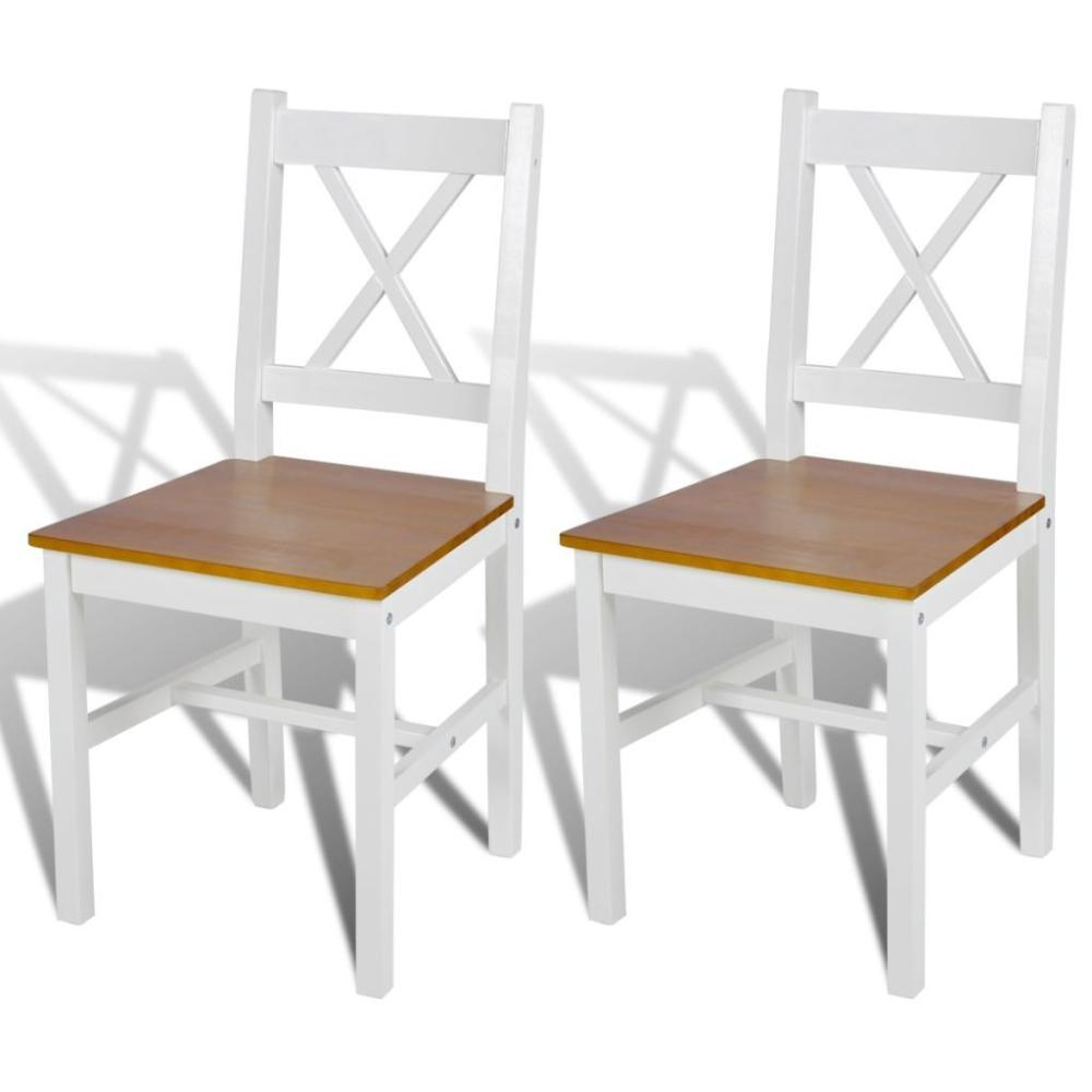 Wood Dining Chairs (2 Pcs) - White/Natural