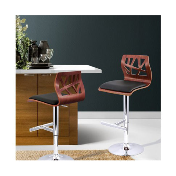 Wooden Bar Stool Padded Seat - Black (Set of 2)