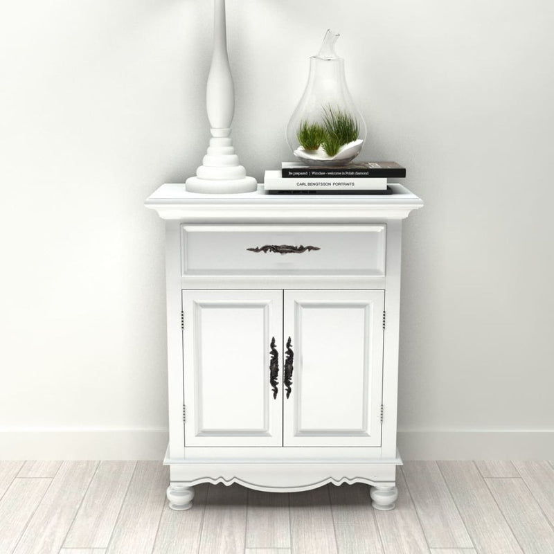 Wooden Cabinet 2 Doors 1 Drawer - White