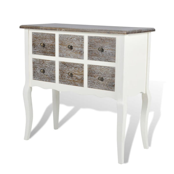 Wooden Console Cabinet with 6 Drawers - White