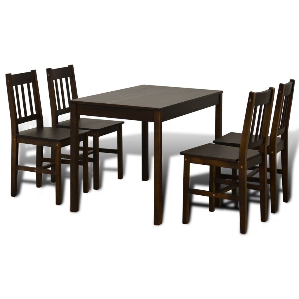 Wooden Dining Table with 4 Chairs - Brown