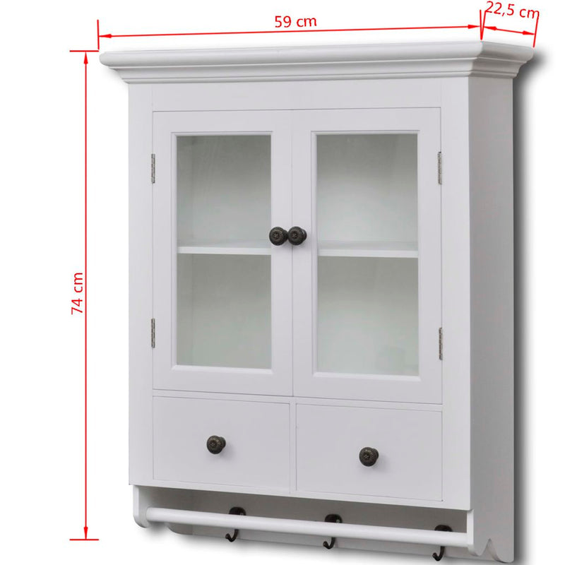 Wooden Kitchen Wall Cabinet With Glass Door - White