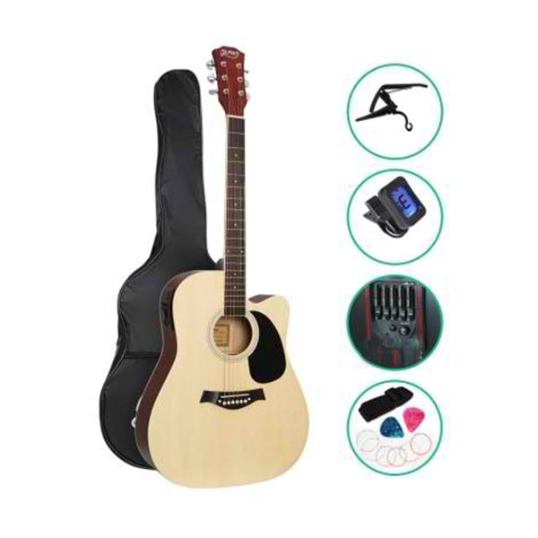 41 Inch Electric Acoustic Guitar Wooden Pickup Capo Tuner Bass Natural