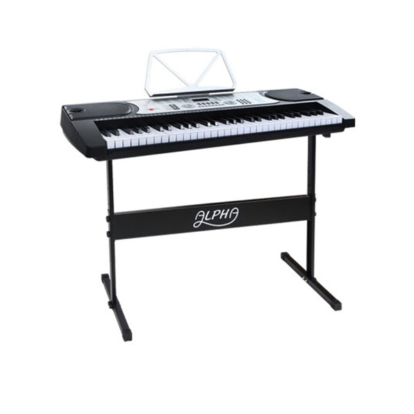 61 Keys Electronic Piano Keyboard Led Electric Silver Music Stand