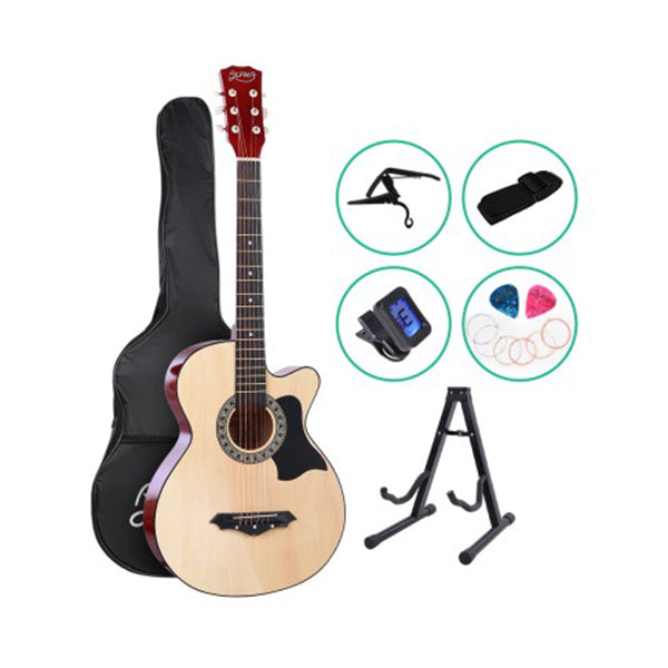 Alpha 38 Inch Wooden Acoustic Guitar With Accessories Set