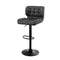 2X Kitchen Bar Stools Gas Lift Chairs Swivel Leather Black Grey