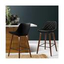 2X Kitchen Bar Stools Wooden Chairs Bentwood Barstool Leather Black