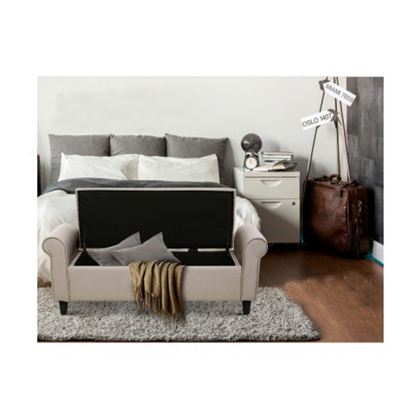 Storage Ottoman Blanket Linen Fabric Arm Footstool Couch Chest Large