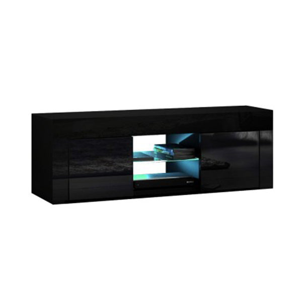 130 Cm Rgb Led Tv Stand Cabinet Entertainment Unit Gloss Black