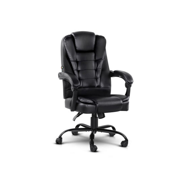 Electric Massage Office Chairs Pu Leather Recliner Black