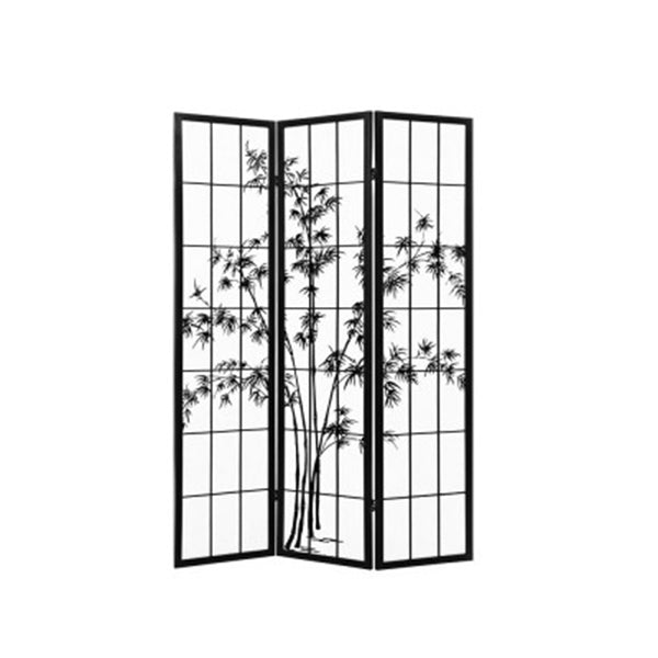 Room Divider Screen Privacy Pine Wood Stand Shoji Bamboo Black White