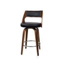 Artiss Wooden Bar Stools Swivel Kitchen Dining Cafe Black 76Cm X2