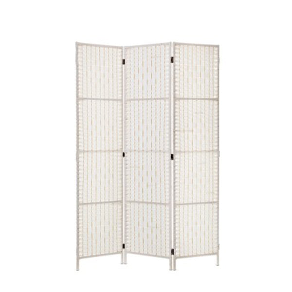 Room Divider Screen Privacy Rattan Timber Fold Woven Stand White